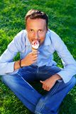 Man with ice-cream Royalty Free Stock Images