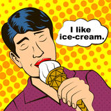 Man and ice-cream Stock Photography