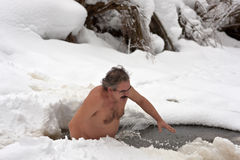 Man in an ice hole Royalty Free Stock Photo