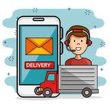 Man icon call center service with delivery truck and smartphone. Vector illustration Stock Photography
