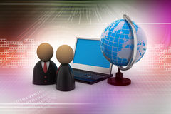Man icon with laptop and globe Royalty Free Stock Photo