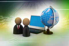Man icon with laptop and globe. In color background Royalty Free Stock Photos