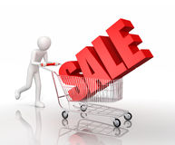 Man icon and shopping cart with sale. Man icon drives shopping cart with sale - 3d illustration Royalty Free Stock Image