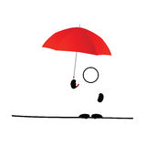 Man icon with umbrella red vector Stock Photography