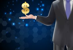 Man with icons money gold on the hand Stock Photo