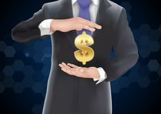 Man with icons money on gold Stock Photography