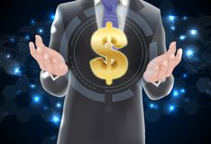 Man with icons money on gold Royalty Free Stock Photo