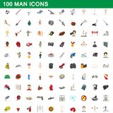 100 man icons set, cartoon style. 100 man icons set in cartoon style for any design illustration royalty free illustration