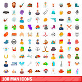 100 man icons set, cartoon style. 100 man icons set in cartoon style for any design vector illustration Stock Photo
