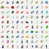 100 man icons set, isometric 3d style Stock Photos