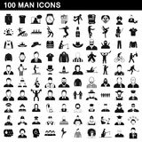 100 man icons set, simple style. 100 man icons set in simple style for any design vector illustration Royalty Free Stock Photography