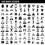 100 man icons set, simple style. 100 man icons set in simple style for any design illustration royalty free illustration