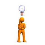 Man with an idea. An illustration of a man with a light bulb for an idea Royalty Free Stock Photos