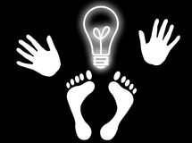 The man idea. Hands, feet and a light bulb as head to represent genial idea Royalty Free Stock Photography