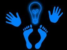 The man idea. Hands, feet and a light bulb as head to represent genial idea Royalty Free Stock Photos