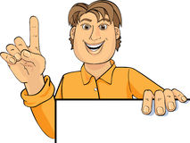 Man with idea. A illustrated view of a man giving a presentation with his finger raised as if suddenly having a good idea Vector Illustration
