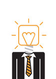 Man with Idea bulb head. Wearing black suit, yellow tie vector illustration
