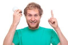 Man with idea and a bulb Royalty Free Stock Photo