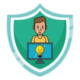 Man with idea on computer. Over badge emblem icon vector illustration graphic design royalty free illustration