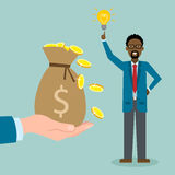 Man with idea gets money. Stock Images