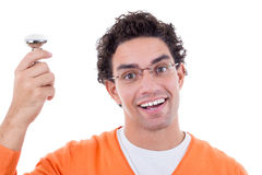 Man with idea holding light bulb wearing glasses Stock Photo