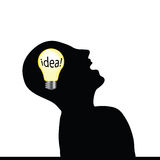 Man with an idea wit yellow bulb Royalty Free Stock Photo