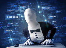 Man without identity programing in technology enviroment with cy Stock Images