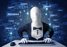 Man without identity programing in technology enviroment with cy Royalty Free Stock Photo