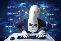Man without identity programing in technology enviroment with cy Stock Photo