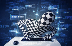 Man without identity programing in technology enviroment with cy Stock Photos