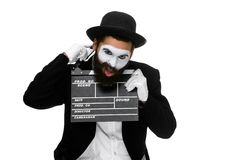 Man in the image mime with movie board Royalty Free Stock Images