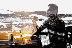 Man imagination with coffee. royalty free stock image