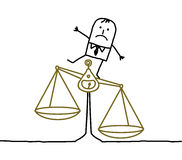 Man & imbalance, injustice. Hand drawn cartoon characters - man & imbalance, injustice stock illustration