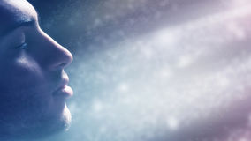 Man Immersed In The Light stock images