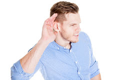 Man with impaired hearing Royalty Free Stock Images