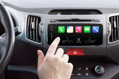 Man In A Car And Touch Play Auto Smart System Stock Photo