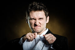 Man In A Suit Tearing Furiously Invoice Stock Images