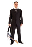 Man In Black Suit Stand With Electric Guitar Royalty Free Stock Photos