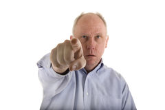 Man In Blue Shirt Pointing At Something Stock Photos