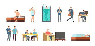 Free Man In Everyday Life. People Daily Routine Vector Cartoon Businessman Characters Set Stock Photography - 115601742