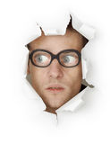 Man In Glasses Looking Out Of Hole Stock Photos