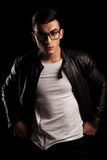 Man In Leather Jacket Wearing Glasses With Hands On Waist Stock Images
