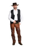 Man In Leather Pants With Gun Stock Images