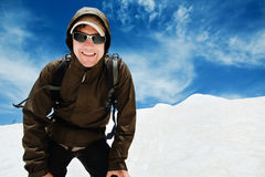 Man In Mountains Royalty Free Stock Photos