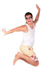 Man In Sunglasses Jumps Royalty Free Stock Photography