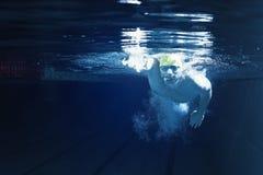 Man In Swimming Pool. Underwater Royalty Free Stock Image