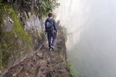 Man on Inca bridge Royalty Free Stock Photography