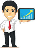 Man with Increasing Graph or Chart on Tablet. A vector illustration of a man showing an increasing graph or chart on his laptop. Drawn in cartoon style, this Royalty Free Stock Images