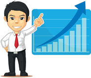 Man with Increasing Graph or Chart. A vector illustration of a man showing an increasing graph or chart on his laptop. Drawn in cartoon style, this vector is Royalty Free Stock Photos