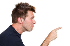 Man indicate something. A young man indicate something Stock Photography